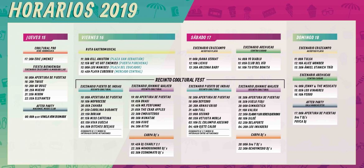 Horarios Cooltural Fest 2019